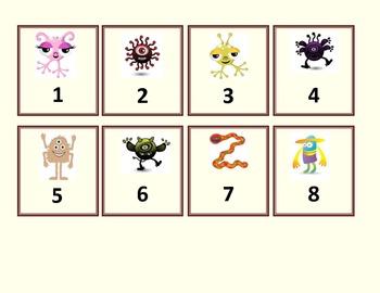 Calendar Numbers - Friendly Monsters - Design 1