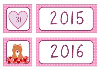Calendar Numbers - Hearts Theme