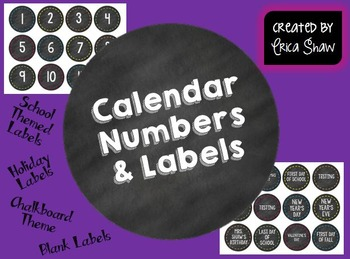 Calendar Numbers & Labels - Chalkboard Edition