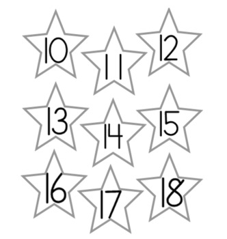 Calendar Numbers, Letters and Shapes
