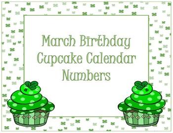 Calendar Numbers~ March Birthday Cupcake