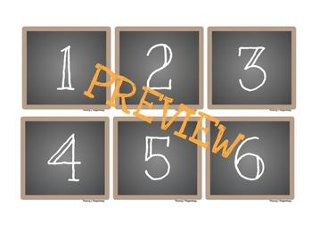 Calendar Numbers/Months Burlap and Chalkboard BUNDLE