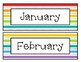 Calendar Numbers, Months of the Year, Days of the Week - Rainbow Stripe