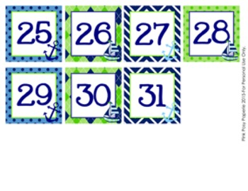 Calendar Numbers Nautical Navy and Lime