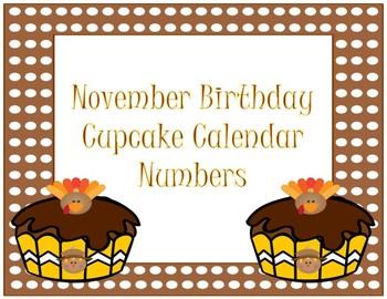 Calendar Numbers~ November Birthday Cupcake