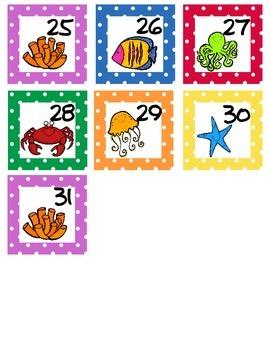 Calendar Numbers Ocean Themed