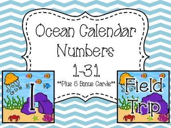 Calendar Numbers- Oceans