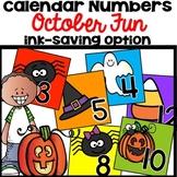 Calendar Numbers October Halloween