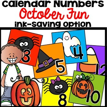 Calendar Numbers October Halloween