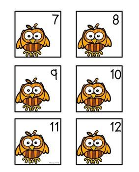 Calendar Numbers: Owls (Editable)