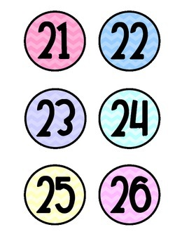 Calendar Numbers - Pastel Chevron