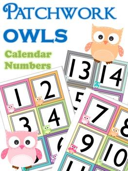 Calendar Numbers : Patchwork Owls