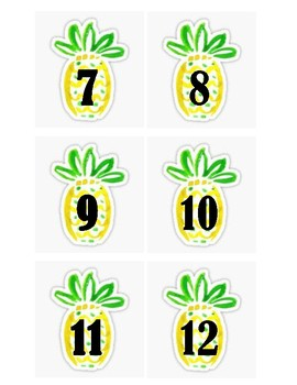 Pineapple Calendar Numbers