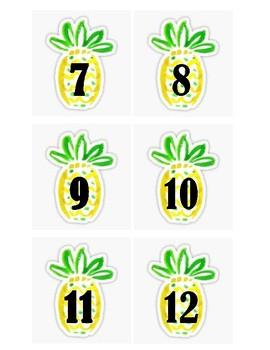 Pineapple Calendar Numbers & Days of the Week