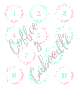 Calendar Numbers Pink and Mint