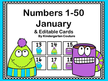 Calendar Numbers Plus Editable Page January