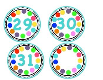 Calendar Numbers Polka Dot