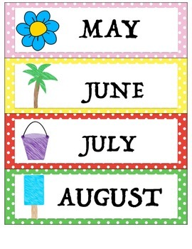 Calendar Numbers: Polka Dot Theme