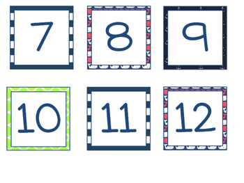 Calendar Numbers {Preppy Nautical Theme!}