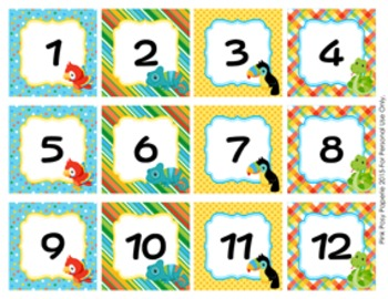 Calendar Numbers Rain Forest Animals Theme