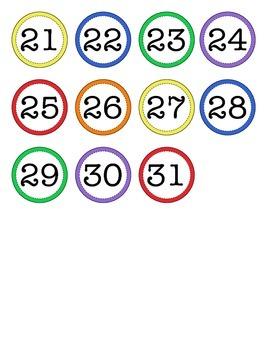 Calendar Numbers - Rainbow