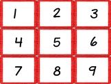 Calendar Numbers Red with White tiny Polka Dots