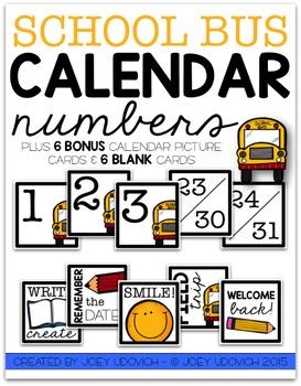 Calendar Numbers - School Bus Theme