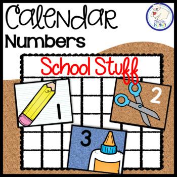 Calendar Numbers: School Supplies