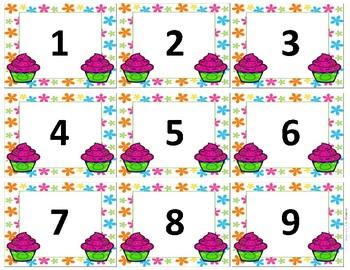 Calendar Numbers~ Spring Birthday Cupcake