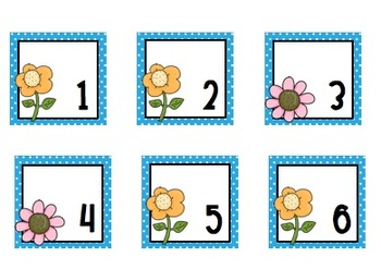Calendar Numbers Spring Flowers - Blue Background