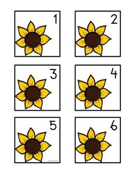 Calendar Numbers: Sunflowers (Editable)