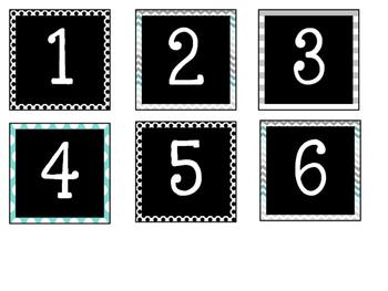 Calendar Numbers {Turquoise, Black, & Grey}