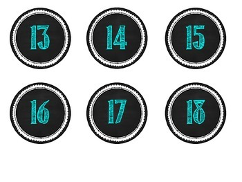 Calendar Numbers -- Turquoise Blue Chalkboard Style