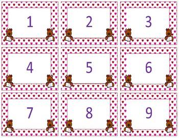 Calendar Numbers~ Valentine Teddy Bear