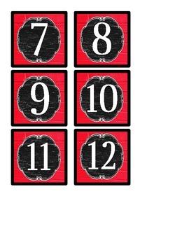 Calendar Numbers - Vintage Schoolhouse Chalkboard Theme