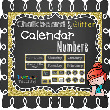 Calendar Numbers & Weather Chalkboard and Gold Glitter