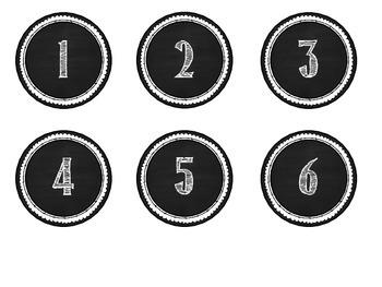 Calendar Numbers -- White Chalkboard Style