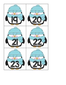 Calendar Numbers, Winter Penguins