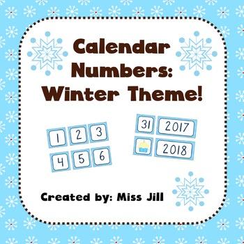 Calendar Numbers - Winter Theme
