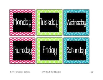 """Calendar Pack in """"Brights and Black"""""""