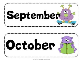 Calendar Numbers and Months - Monster and Dot Theme!