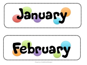 Calendar Numbers and Months Polka Dots Theme