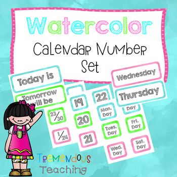 Calendar Numbers and Months Watercolors Set