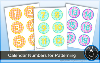 Calendar Numbers and Tags, Set 1