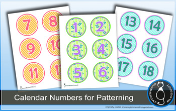 Calendar Numbers and Tags, Set 2
