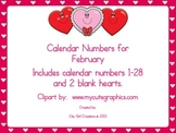 Calendar Numbers for February
