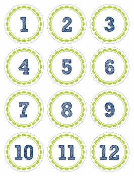 Calendar Numbers for Pocket Charts or Bulletin Boards (Blue and Green Circles)