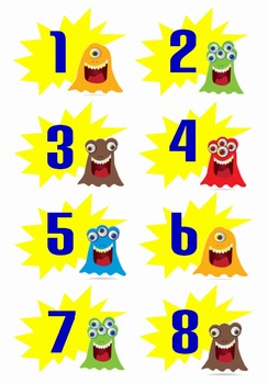 Calendar Numbers for Pocket Charts or Bulletin Boards (Monster Theme)