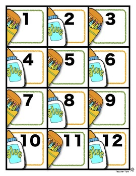 Calendar Numbers for All Year--FREE Sample