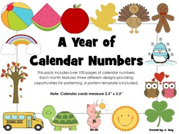 Calendar Numbers for the Year